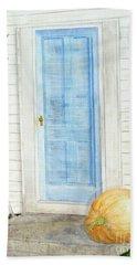 Blue Door With Pumpkin Hand Towel