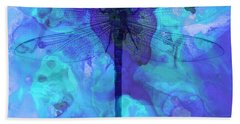 Blue Dragonfly By Sharon Cummings Bath Towel