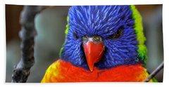 Blue Faced Rainbow Lorikeet Parrot Bath Towel