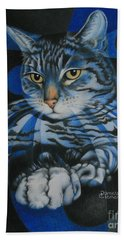 Hand Towel featuring the painting Blue Feline Geometry by Pamela Clements