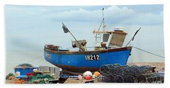 Blue Fishing Boat Hand Towel