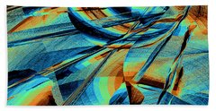 Bath Towel featuring the digital art Blue Flowpaper Solarized by Joy McKenzie