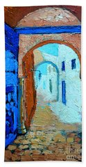 Hand Towel featuring the painting Blue Gate by Ana Maria Edulescu