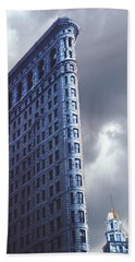 Hand Towel featuring the photograph Blue Glow Flatiron Building New York by Tom Wurl