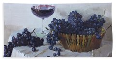 Blue Grapes And Wine Bath Towel