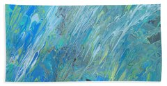 Bath Towel featuring the painting Blue Green Abstract by Ania M Milo