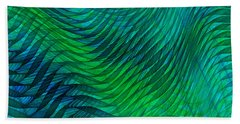 Blue Green Fabric Abstract Bath Towel by Jane McIlroy