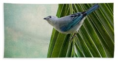 Blue Grey Tanager On A Palm Tree Hand Towel