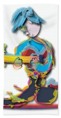 Hand Towel featuring the digital art Blue Hair Guitar Player by Marvin Blaine