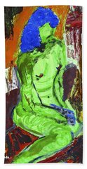 Blue Haired Nude Hand Towel