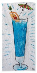 Hand Towel featuring the painting Blue Hawaiian Cocktail by Kathy Marrs Chandler