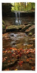 Bath Towel featuring the photograph Blue Hen Falls In Autumn by Dale Kincaid