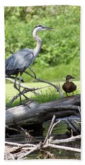 Blue Heron And Friend Bath Towel