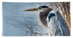 Blue Heron At Pond Hand Towel