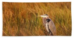 Hand Towel featuring the photograph Blue Heron In Louisiana Marsh by Luana K Perez