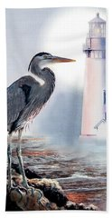 Blue Heron In The Circle Of Light Bath Towel