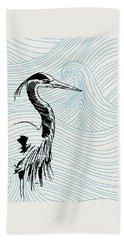 Blue Heron On Waves Bath Towel