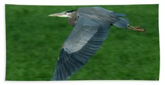 Blue Heron Hand Towel by Rod Wiens