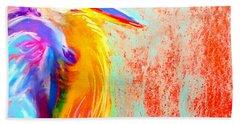 Funky Blue Heron Bird Bath Towel