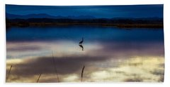 Blue Heron Sun Set Hand Towel