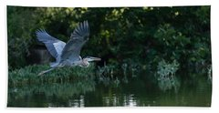 Blue Heron Take-off Bath Towel