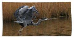 Blue Heron Takes Flight Bath Towel