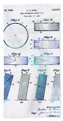 Blue Hockey Art - Hockey Puck Patent - Sharon Cummings Bath Towel