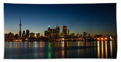 Blue Hour - Toronto's Dazzling Skyline Reflecting In Lake Ontario Hand Towel