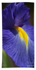 Blue Iris With Yellow Hand Towel