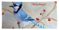 Blue Jay Happy Holidays Bath Towel