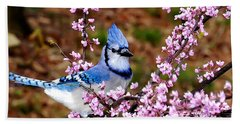 Blue Jay In The Pink Hand Towel by Randall Branham
