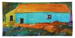 Hand Towel featuring the painting Blue Long Barn by John Williams