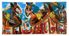 Bath Towel featuring the painting Blue Manes And Yellow Saddles by Mary Carol Williams