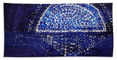 Blue Moonrise Original Painting Hand Towel