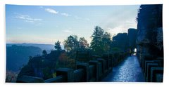 Blue Morning On The Bastei Bath Towel