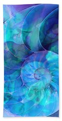 Blue Nautilus Shell By Sharon Cummings Hand Towel