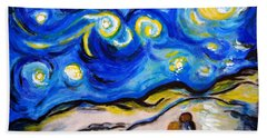 Hand Towel featuring the painting Blue Night by Ramona Matei