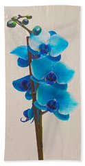 Blue Orchid Hand Towel by Scott Carruthers