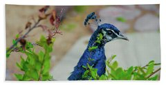 Blue Peacock Green Plants Hand Towel by Jonah  Anderson