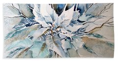 Blue Poinsettia Hand Towel