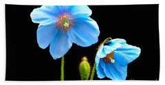 Blue Poppy Flowers # 4 Hand Towel
