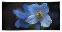 Blue Poppy Bath Towel by Jacqui Boonstra