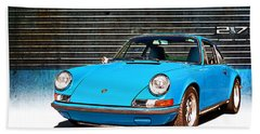 Blue Porsche 911 Bath Towel