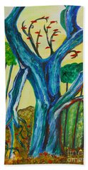 Blue Remembered Tree Hand Towel by Veronica Rickard