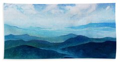 Blue Ridge Blue Skyline Sheep Cloud Bath Towel
