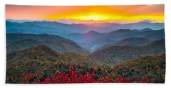 Blue Ridge Parkway Autumn Sunset Nc - Rapture Bath Towel