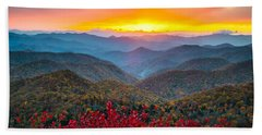 Blue Ridge Parkway Autumn Sunset Nc - Rapture Hand Towel
