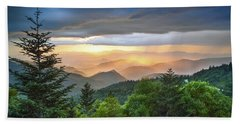 Blue Ridge Parkway Nc - Golden Rainbow Bath Towel