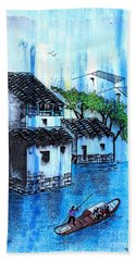 Bath Towel featuring the painting Blue River  by Roberto Prusso