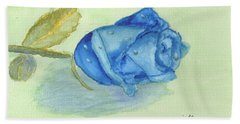 Blue Rose Hand Towel